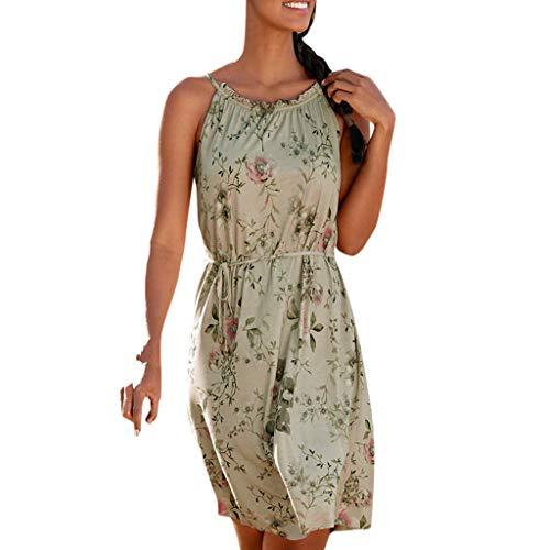 Brizz Damesjurk, modieus, zomer, lange rok, Boheemse mouwloze O-hals, geprint, knie, lange jurk, feestjurk, ademend