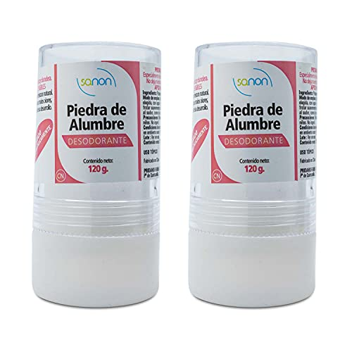 SANON Desodorante de Piedra de Alumbre 100% Puro, Natural y Ecológico | Sin parabenos, alcohol o conservantes | Stick 120 g