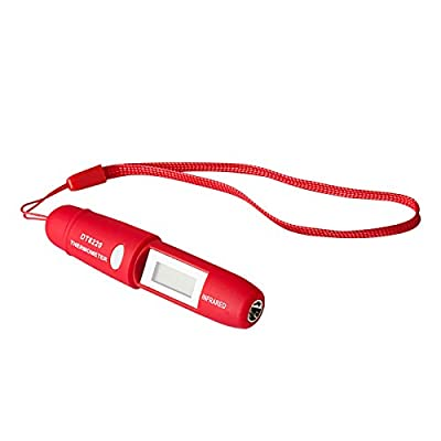 Allytech Digital Pocket Test Thermometer, Waterproof, Pen Style, -58/428° F Temperature Range - Digital Laser IR Infrared Thermometer,Red