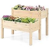 GOPLUS Orto urbano pensile tavolo porta piante per giardino, fioriera in legno, scomparto, aiuola a cassetta da balcone per erbe aromatiche, 85 x 86 x 72,5 cm, naturale