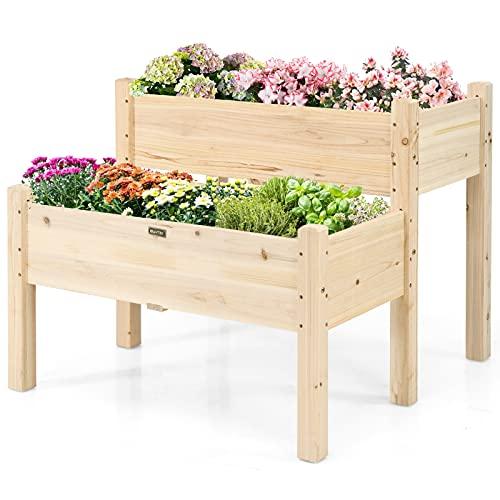 GOPLUS Jardinière Surélevée en Bois à 2 Bacs,Lit de Culture pour Légumes Fleurs,pour Jardin Terrasse ou Balcon,Carré Potager de Jardin sur Pied , Plateau pour Les Outils de Jardinage