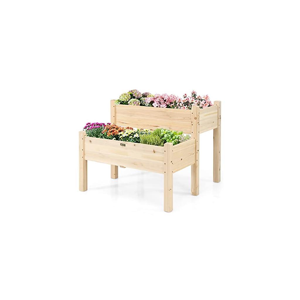 GOPLUS Jardinière Surélevée en Bois à 2 Bacs,Lit de Culture pour Légumes Fleurs,pour Jardin Terrasse ou Balcon,Carré…