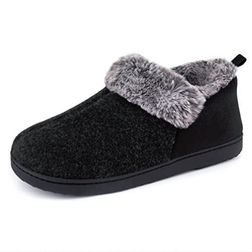 ULTRAIDEAS Women's Cozy Memory Foam Slippers with Warm Plush Faux Fur Lining, Wool-Like Blend Micro Suede House Shoes with Indoor Outdoor Rubber Sole (Black, Size 9)
