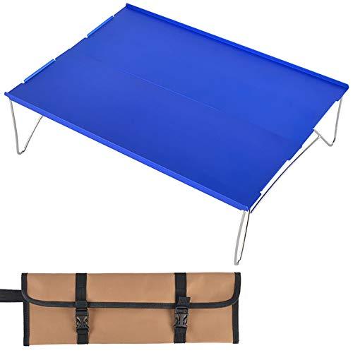Mesa De Camping Plegable Pequeña Con Almacenamiento Mesas Portátiles Mesa De Aluminio Plegable Mesa Auxiliar Ligera Para Campamento Al Aire Libre Senderismo Playa Barco Barbacoa Cocina Co(Color:Azul)