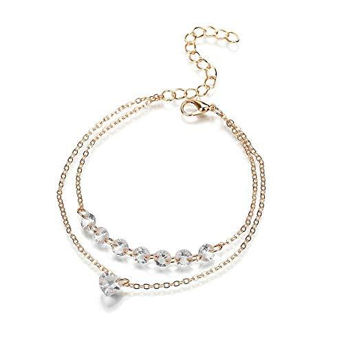 Einfache Herz-Modell Frauen Kristall Multi Layer Armband Armreif Manschette Schmuck Golden