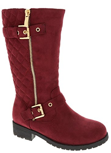 Kids Girls Mango21 Wine Dual Buckle/Zipper Quilted Mid Calf Motorcycle Boots