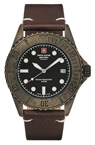 Swiss Alpine Military Herren Uhr Analog Quarz Vintage 7051.1589SAM Leder