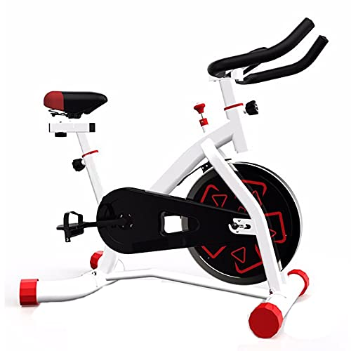 Bicicleta Estática Bicicleta De Fitness Pantalla Lcd Asiento Manillar Ajustable Volante De Inercia Resistencia Regulable, Bicicleta Estatica Spinning Bicicleta Para Uso Domestico (White)