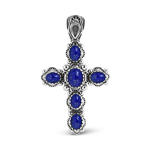 American West Sterling Silver Blue Lapis Cross Pendant Enhancer