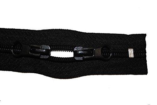 Reißverschluss für Taschen, Rucksäcke, Zelte u.s.w. schwarz 70 cm lang 5 mm Spirale mit 2 Schieber