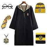 FStory&Winyee - Disfraz de Harry Potter para niños y Adultos, Capa de Gryffindor Hufflepuff Ravenclaw Slytherin para Fans Amarillo S
