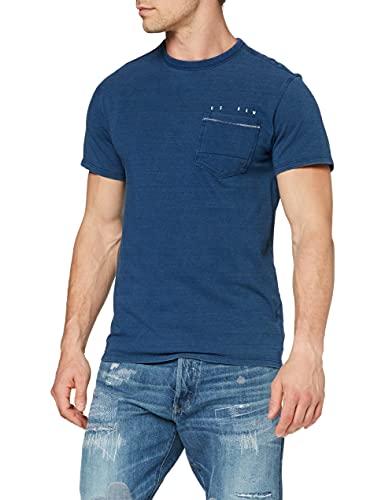 G-STAR RAW Herren T-Shirt Indigo RAW Embro Pocket Straight, Faded Indigo C353-B457, Medium