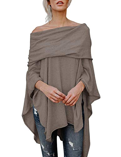BUOYDM Mujer Camiseta Largos de Mangas Largas de Murciélago Irregular Casual Pullover Camisa Sueltas Tops Gris Oscuro S