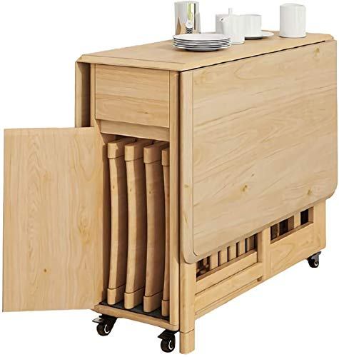 VIWIV Tavolino pieghevole in legno con 4 sedie da banco pieghevole e salvaspazio, tavolo da pranzo su ruote, per mobili da cuci