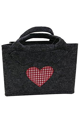 Witzgal Trachtentasche Filztasche dunkelgrau mit rot kariertem Herz und Henkel 28x20cm