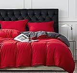 Damier Ropa de cama reversible de 200 x 220 cm, color rojo y gris, juego de ropa de cama de 3 piezas de microfibra supersuave, funda nórdica con cremallera y 2 fundas de almohada de 80 x 80 cm