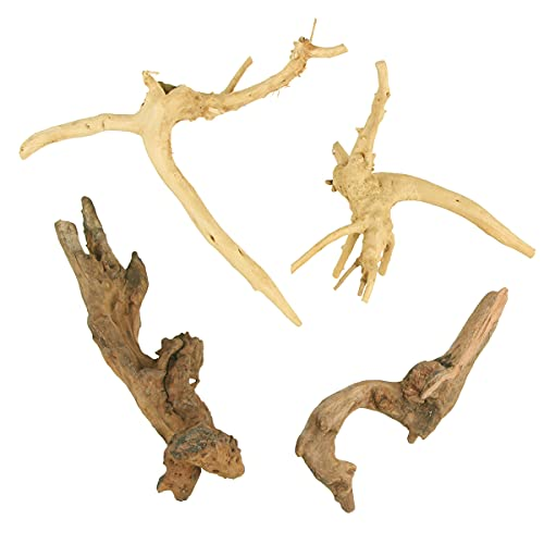 BundleMall Driftwood for Aquarium Assorted Branches, Reptile Ornament for Fish Tank Decoration,Driftwood for Decor Natural Wood Reptile Decor Supplies Assorted Sizes (Small:3.9 x 5.9in)