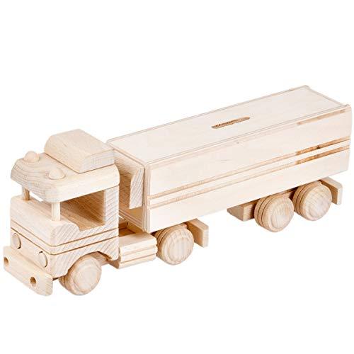Aldecor Holz Sparbüchse Spardose LKW Lastwagen Auto Holzauto