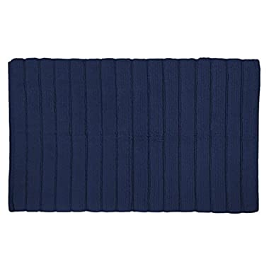 DII Cotton Ultra Absorbent Soft Luxury Spa Ribbed Bath Mat or Rug Place in Front of Shower, Vanity, Bath Tub, Sink, and Toilet 17x24 Navy