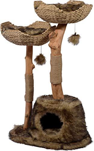 """Design-Kratzbaum \""""Tony\"""" mit Naturstämmen und Spielball, Katzenmöbel mit Katzenhöhle und zwei Liegeflächen, 60 x 45 x 111 cm, braun"""