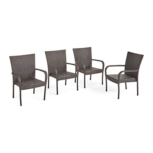 Christopher Knight Home CKH Outdoor Wicker Stackable Club Chairs, 4-Pcs Set, Multibrown