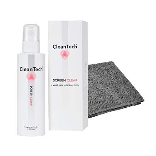 CleanTech ScreenClear Bildschirmreiniger Set inkl. MagicShine Display-Mikrofasertuch I Screen Cleaner/PC-Reiniger/Displayreiniger für Smartphone, Monitor, Notebook UVM.