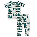 KicKee Pants - Print Pajama Set with Short Sleeve Tee, Ultra Soft and Snug Fitting PJ's - Matching Top and Bottom Sleepwear Set, Newborn to Baby Pajamas (Natural Cabins and Tents - 4T)