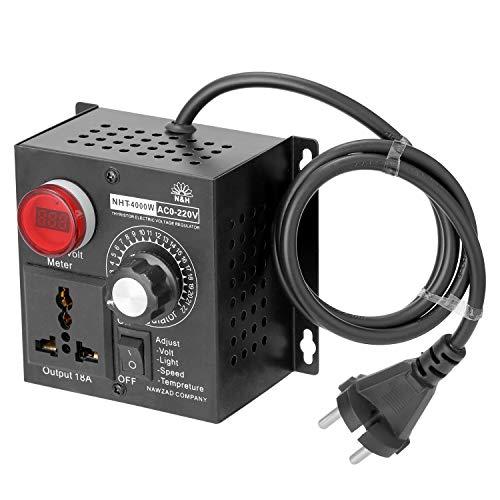 Leepesx AC 220V 4000W Regolatore compatto a tensione variabile Regolatore di velocità portatile Temperatura temperatura Dimmer regolabile in tensione luminosa