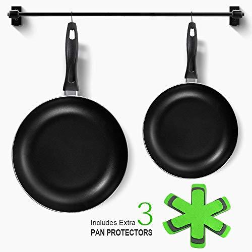 Nonstick Frying Pan-2 Piece 8 en 10.4-inch Skillet Pan Goede Grips Kookgerei Set voor Keuken met 3 Stks Pan Protectors-100% PFOA-Gratis Vaatwasser Veilig