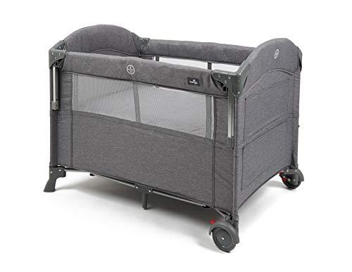 Babylo Deluxe Drop Side Co-Sleeper Bedside Travel Cot, Grey Mélang