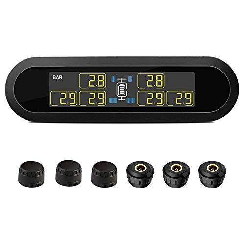 B-Qtech Wireless Solar Power TPMS, RV Tire Pressure Monitoring System with 6 Sensors for Car RV Truck Tow Motorhome Travel Trailer's Pressure and Temperature 0~199PSI