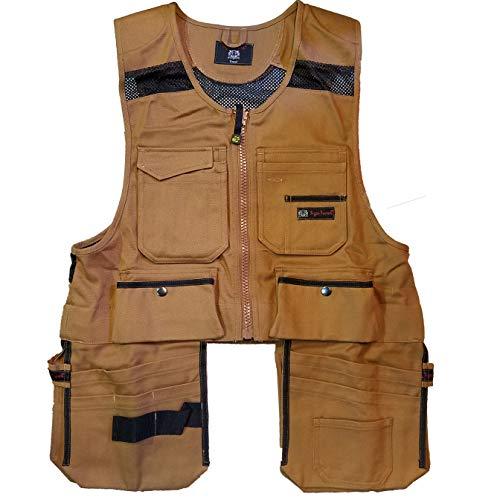 Men Work Vest Pockets Utility Vest Tool Pockets Pro (X-Large, Brown Duck)