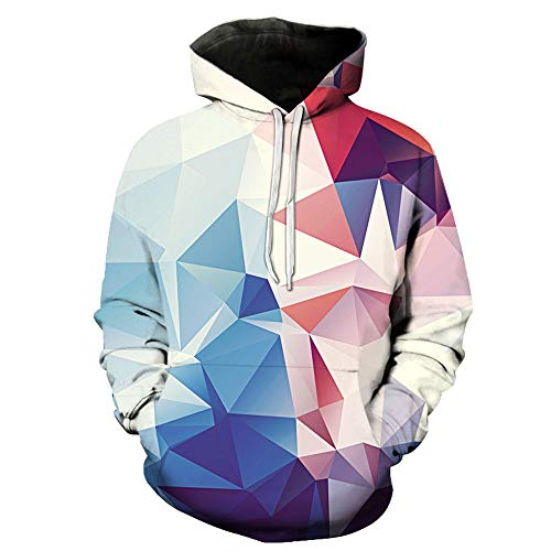 HUIYIYANG Tees Unisex Novelty 3D Graphic Geometric Pullover Hoodies Casual Long Sleeve Hooded Sweatshirt with Pockets for Herren Damen 075 XXXXL
