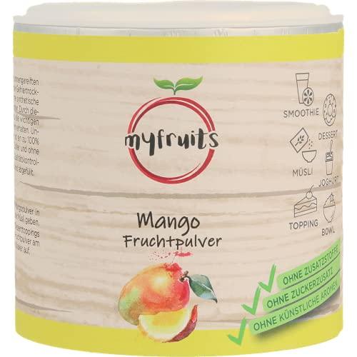 myfruits® Mangopulver - ohne Zusätze, zu 100% aus Mango, gefriergetrocknet, Fruchtpulver für Smoothie, Shakes & Joghurt (200g)