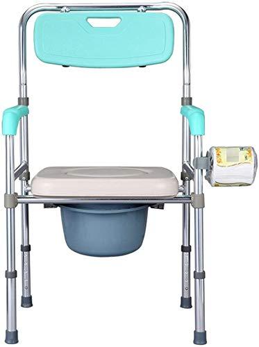 HHJJ Silla con Orinal Ajustable, Acolchada Silla de Ducha, WC for Uso de Noche Baño, móvil Cómoda de la cabecera, Sit & Bañarse