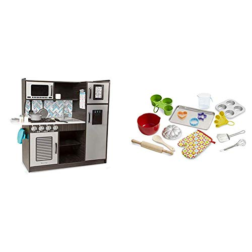 """Melissa & Doug Wooden Chef's Pretend Play Toy Kitchen with """"Ice"""" Cube Dispenser, 39"""" H x 15.5"""" W x 43.25"""" L & Let's Play House Baking Play Set (Best for 3, 4, 5, 6, 7 and 8 Year Olds)"""
