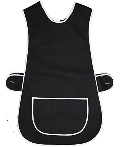 Top Quality Ladies Home / Work Tabard (Tabbard) Apron with Single Large Front Pocket, White Piping and Side Fastening Button Tabs - Available in BLACK / BOTTLE GREEN / BURGUNDY / EMERALD / NAVY BLUE / RED / ROYAL BLUE - UK Sizes 8/10 up to 28/30 (UK 24/26 (XXOS), Black)