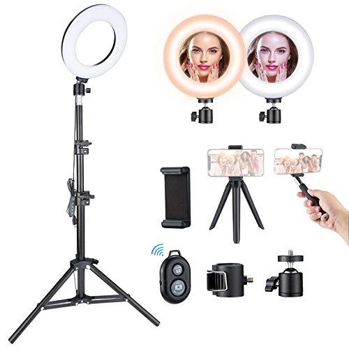 VicTsing Ring Light 16cm, 3000K-6500K Anneau Lumineux LED avec Trépied, Télécommande, Chargeur USB et Perche à Selfie, 5 Niveaux de Luminosité et 5 Modes d'éclairage pour Caméra, Maquillage,Youtube