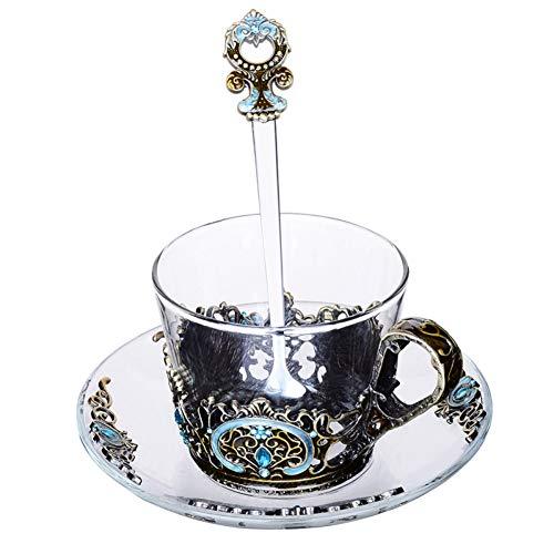 AICUP Farbe Emaille Glas Kaffeetassen Mit Tablett Löffel Handgemachte Tee Milch Wasser Tassen Kaffee