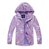 WYTbaby Kids Waterproof Rain Jacket Girls Fleece Outerwear Hooded Lined Windbreaker Spring Fall, 6-7 Years Purple