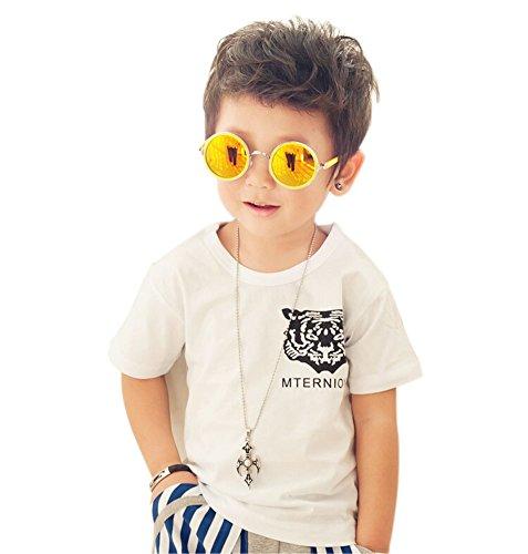 Mode T-shirt à manches courtes pour homme T-shirt pour garçon - Blanc - Taille Unique