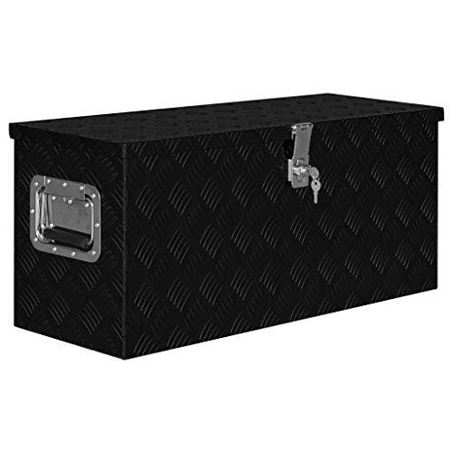 vidaXL Aluminiumkiste Werkzeugbox Transportkiste Transportkoffer Aluminiumkoffer Alu Koffer Box Lagerkiste Lagerbox 80x30x35cm Schwarz