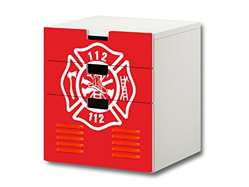 Feuerwehr Möbelsticker/Aufkleber - S3K21 - passend für die Kinderzimmer Kommode mit 3 Fächern/Schubladen STUVA von IKEA - Bestehend aus 3 passgenauen Möbelfolien (Möbel Nicht inklusive)