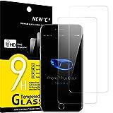 NEW'C 2 Unidades, Protector de Pantalla para iPhone 7 Plus y iPhone 8 Plus, Antiarañazos, Antihuellas, Sin Burbujas, Dureza 9H, 0.33 mm Ultra Transparente, Vidrio Templado Ultra Resistente
