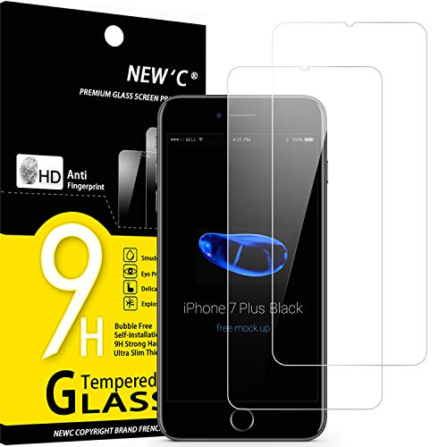 NEW'C 2 Pezzi, Vetro Temperato Compatibile con iPhone 7 Plus e iPhone 8 Plus, Pellicola Prottetiva Anti Graffio, Anti-Impronte, Durezza 9H, 0,33mm Ultra Trasparente, Ultra Resistente