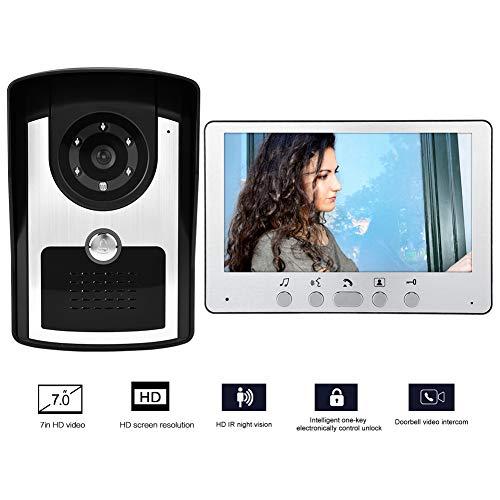 Visuele deurbel met 7-inch LCD-scherm, digitale deurbel met 16 beltonen, infrarood nachtzichtcamera met handsfree intercomfunctie, waterdichte deurbel (wit)