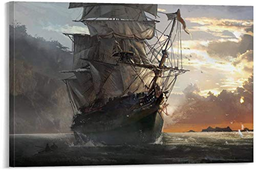 Posters Canvas Art on The Walls of The Bedroom and Living Room Assassin's Creed Black Flag Sailboat Sailing on The Sea Office Art Wall Decor 08x12inch(20x30cm)