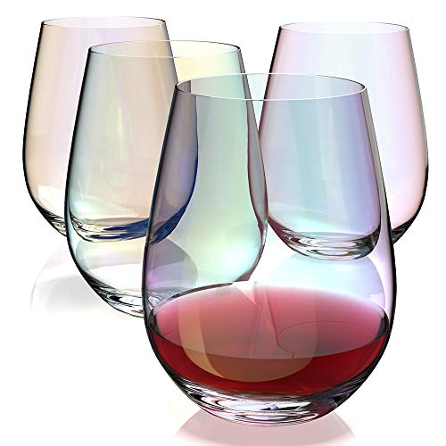 Amesser Stemless Wine Glasses 18 - Ounce Set of 4, Lead·Free Tumbler Style Stemware Wine glass for Burgundy, Cabernet, Sauvignon, Bordeaux,Wine,Juice,Water SW001 (Iridescent)