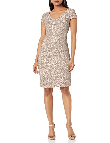 Alex Evenings Women's Midi Length Embroidered Dress, Champagne Ivory Petite, 12P