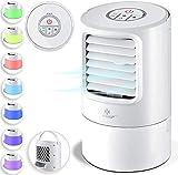 KESSER® 4in1 Mobile Klimaanlage Mini Klimagerät mit 7 Farben LED Farben   Ventilator   Wassertank   Timer   3 Stufen   Ionisator Luftbefeuchter   Luftkühler   Klein Tragbare, Weiß